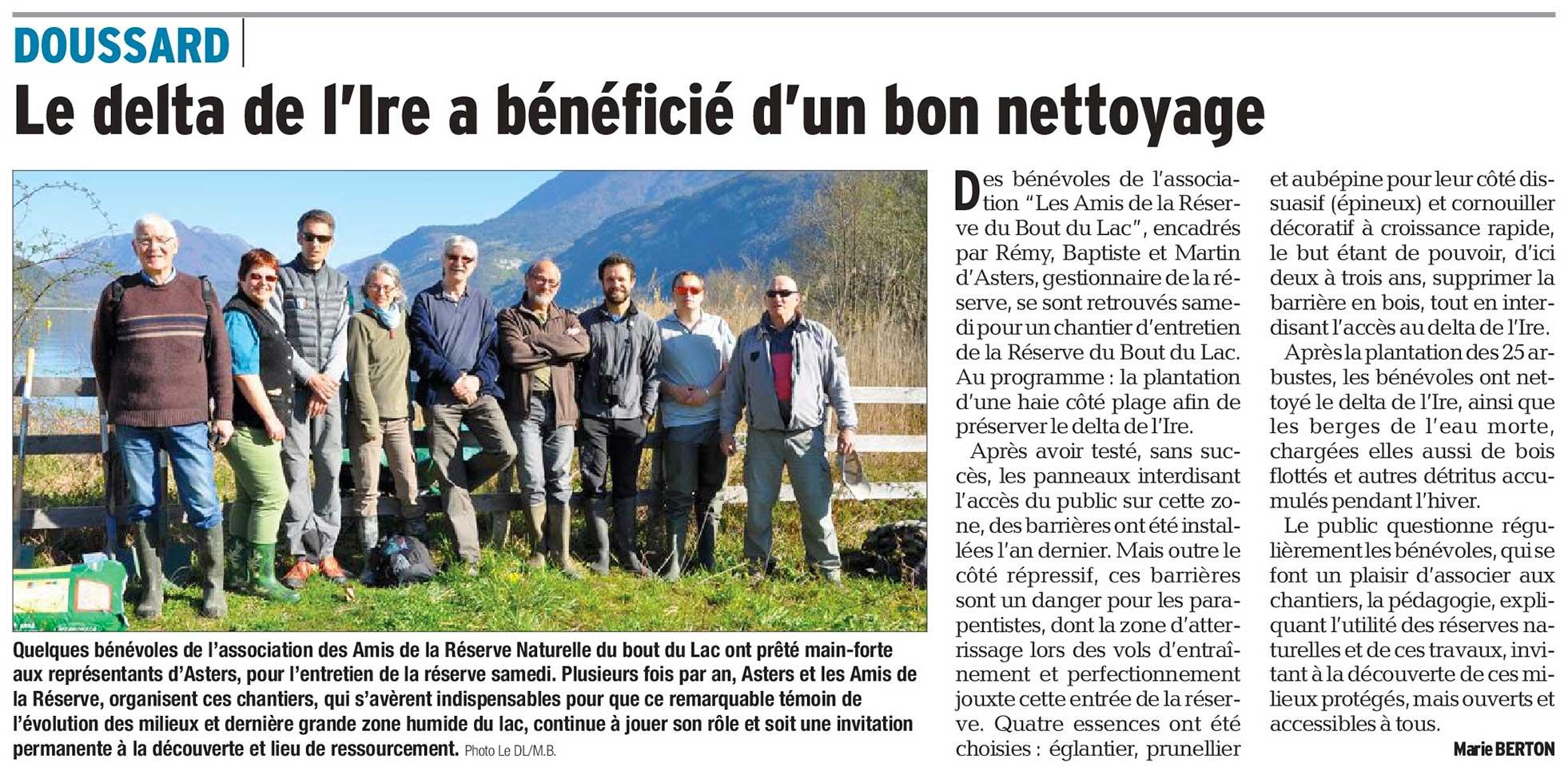 Article paru dans le Dauphiné Libéré du 11/04/2017
