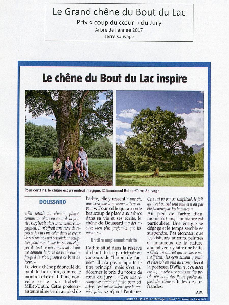 Le chêne du Bout du Lac inspire